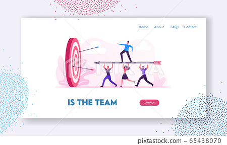 Business Goals Achievement Website Landing Page. Businesspeople Team Carry Huge Arrow with Businessman Standing on it Running to Huge Target, Challenge Web Page Banner.Cartoon Flat Vector Illustration 65438070