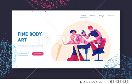Tattoo Salon Website Landing Page. Master Making Tattooing to Character with Tattooed Body and Punk Hairstyle. People Decorating themself with Painting Web Page Banner Cartoon Flat Vector Illustration 65438488