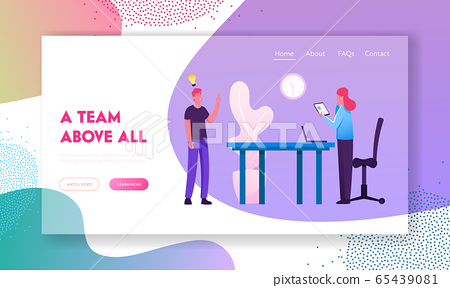 Businesspeople Team Project Ideas Development Website Landing Page. Company Teamwork Brainstorm Collaboration in Office. Business Process Workflow Web Page Banner. Cartoon Flat Vector Illustration 65439081
