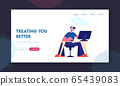 Customer Support Service Website Landing Page. Consultant on Hotline Chat with Clients. Call Center Male Technical Professional Receptionist Answer Web Page Banner. Cartoon Flat Vector Illustration 65439083