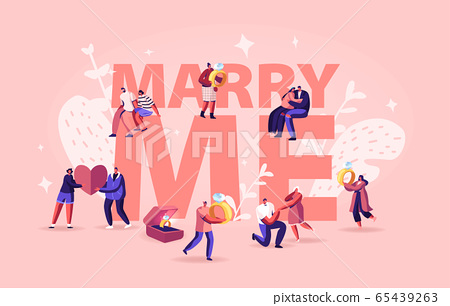 Marry Me Concept. Men Making Romantic Proposal to Women, Giving Engagement Ring Standing on Knee. Love Relationship Marriage and Family Poster Banner Flyer Brochure. Cartoon Flat Vector Illustration 65439263