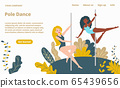 Pole dance girls web template cartoon vector illustration, pole-dancers beautiful women, pylon acrobatic sport vector illustration. 65439656