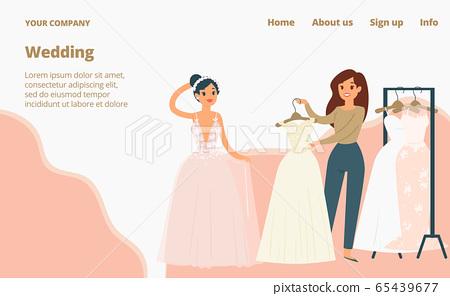 Wedding dresses for brides landing page, cartoon vector illustration. Fashion bride and bridesmaid wear. 65439677