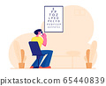 Eyesight Check Up Procedure in Clinic. Man Looking at Test Chart for Vision Checkup. Patient in Oculist Office Optician 65440839