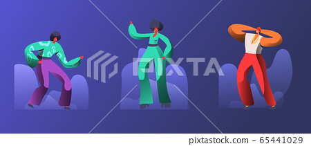 Group of Happy Young People in 1970s 1980s Fashion Style of Clothes and Hairstyle Dancing Disco Dance. Stylish Men and Women Dance at Retro Disco Party in Night Club. Cartoon Flat Vector Illustration 65441029