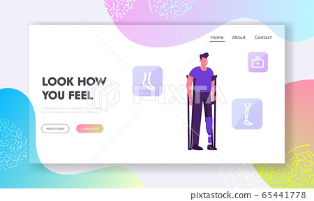 Disability, Orthopedy Medicine Website Landing Page. Invalid Handicapped Man Standing on Crutches with Leg Prosthesis 65441778