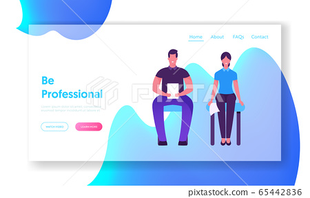 Job Interview Appointment Website Landing Page. Man and Woman with Cv Sitting in Waiting Room Before or Meeting with Potential Business Work Partners Web Page Banner. Cartoon Flat Vector Illustration 65442836
