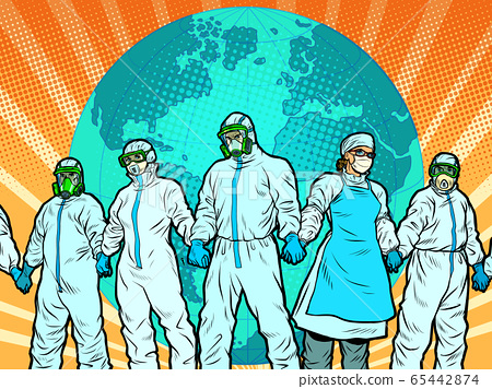 The pandemic concept. Doctors protect the planet. medics in protective suits 65442874