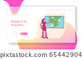 Television Anchorwoman Forecast Weather at Studio Website Landing Page. Woman Meteorologist Forecasting Sunny and Rainy Summer Days in Tv News Web Page Banner. Cartoon Flat Vector Illustration 65442904