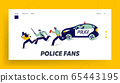 Policemen Pursuit Robber on Duty Landing Page Template. Police Officer Characters at Catching Up Thieves in Mask 65443195