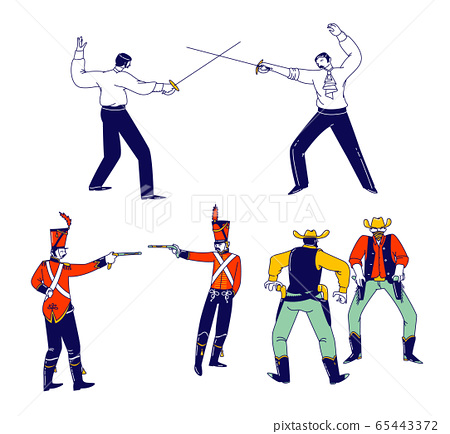 Set Male Characters Fighting on Duel. Wild West Cowboys in United States Armed With Revolver Ready to Open Fire 65443372