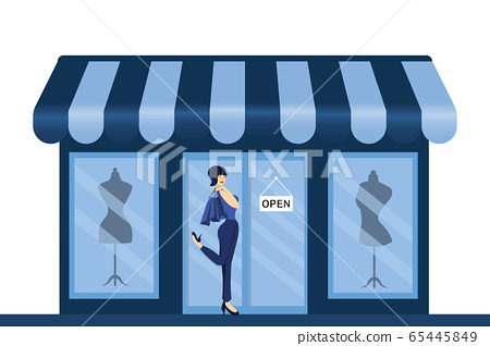 Women fashion clothes and beauty accessories shop sale mannequin display windows. 65445849