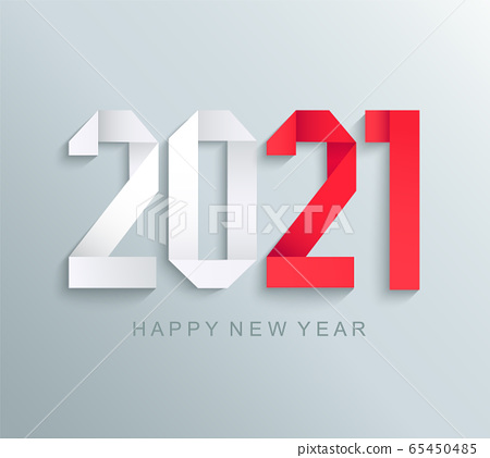 New 2021 year greeting card,paper numbers. 65450485