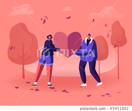 Loving Couple Share Huge Red Heart to Each Other. Human Relations, Love, Romantic Dating. Young Man and Woman Character Spending Time Together Outdoors. Valentines Day Cartoon Flat Vector Illustration 65451802