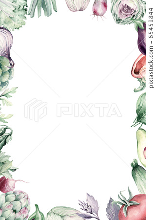 Vegetables healthy green organic set watercolor diet menu with artichoke, broccoli, spinach, celery vitamin Cabbage, leek and onion illustration. Isolated lettuce and radish. background mushroom. 65451844