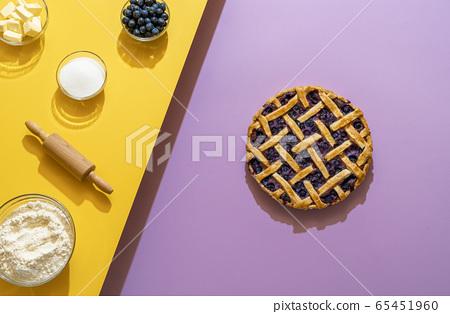 Blueberries pie with lattice crust and 65451960