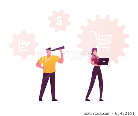 Characters with Laptop and Spyglass at Shopping Trolley and Dollar Icons. Scm, Supply Chain Management 65452151