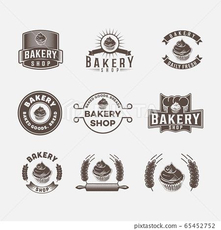 set vintage bakery logo design. vector 65452752