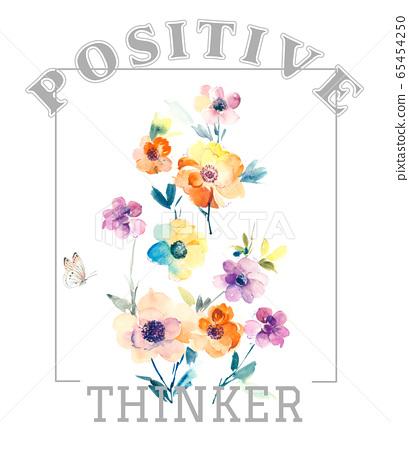 色彩豐富的花卉素材組合和設計元素 65454250