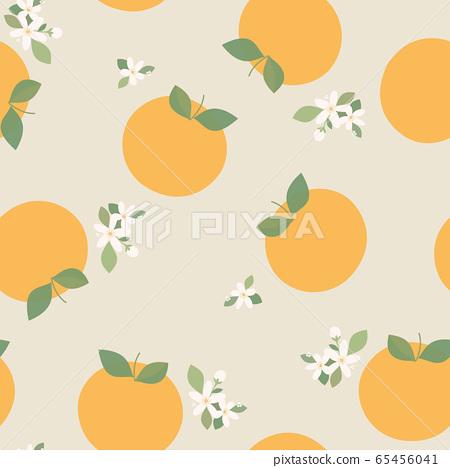 oranges, seamless pattern of orange fruits collection, tangerine, decorative, wallpaper, illustration, vector 65456041