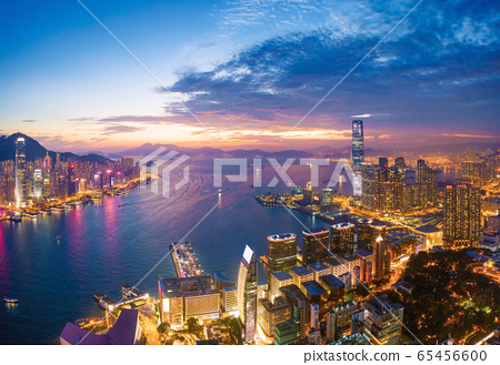 Aerial view of the Victoria Harbour, Hong Kong, at 65456600