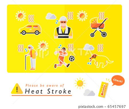 中暑警告圖標集 65457697
