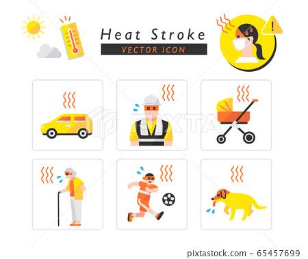 中暑警告圖標集 65457699