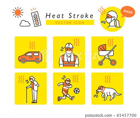 中暑警告圖標集 65457700
