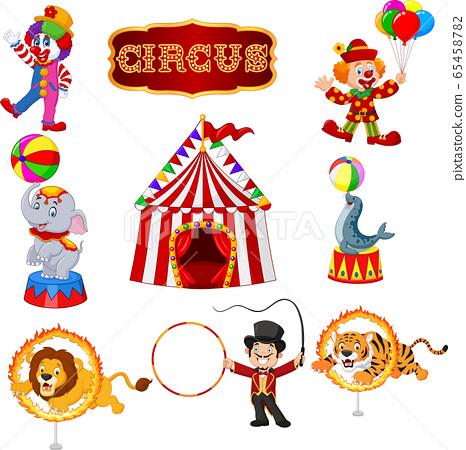 Set of circus cartoon artists and animals 65458782