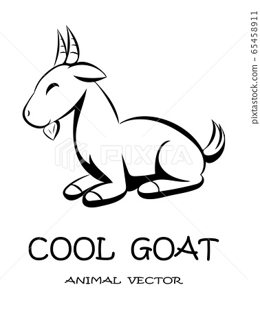 Black Vector illustration cartoon on a white background of a cute goat.  65458911