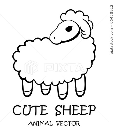 Black Vector illustration cartoon on a white background of a cute sheep.  65458912
