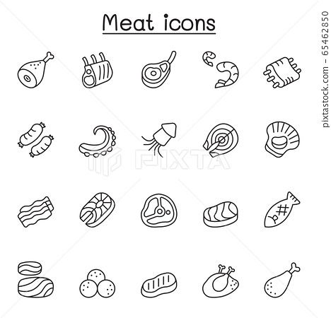 Meat, pork, beef, seafood icons set in thin line 65462850