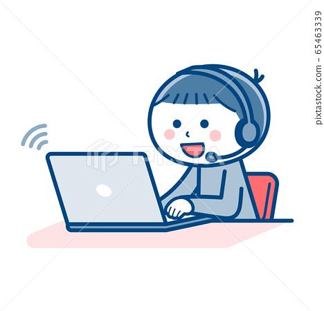 在線上課的男孩/ PC / PC / 2種顏色 65463339