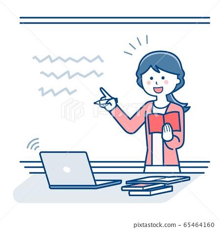 老师使用白板/ 2种颜色进行在线课堂教学 65464160