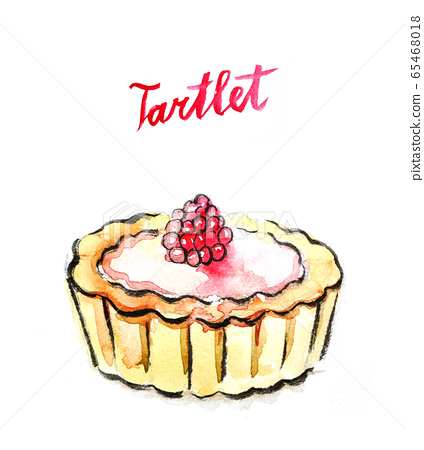 Watercolor tartlet with raspberry 65468018