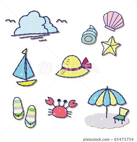 여름 소재 세트 파스텔 도트 무늬 문장 바람 65473754