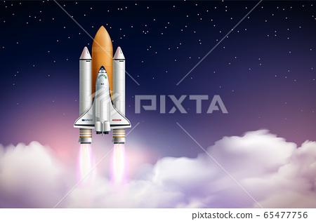 Rocket Launch Realistic Composition 65477756
