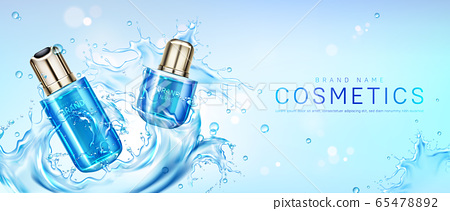 Cosmetic products in water splash 65478892