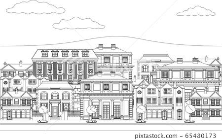 Houses Shops Street Scene Coloring Outline Art 65480173