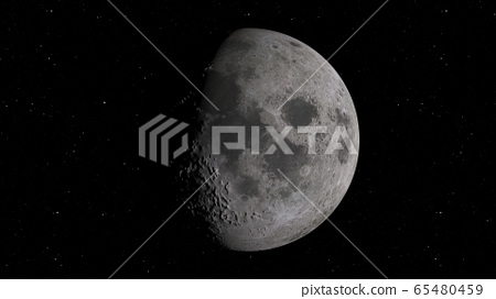 3D rendering of the Moon against the background of space with the illumination of craters and lunar soil 65480459