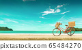 Red vintage bicycle on white sand beach over blue 65484270