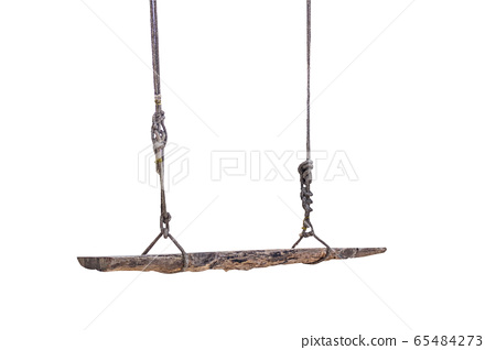 An old wood swing hanged on a tree Isolated on 65484273