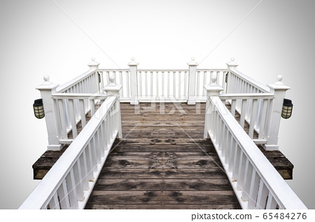 white wood balcony,isolated on white background 65484276