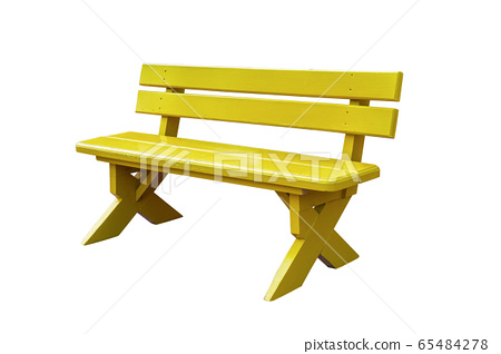 yellow wood bench isolated on white background 65484278