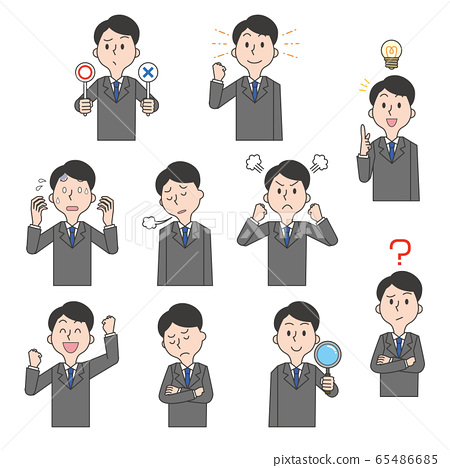 Male office worker suit, emotion, facial expression, pose set 65486685