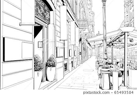 漫畫風格的鋼筆劃插圖Overseas_Cityscape 65493584