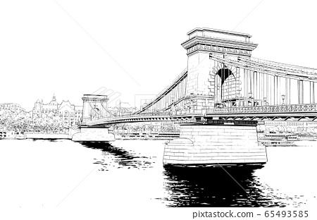 漫畫風格的鋼筆劃插圖Overseas_Cityscape 65493585