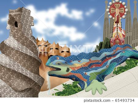 Spain building illustration 65493734