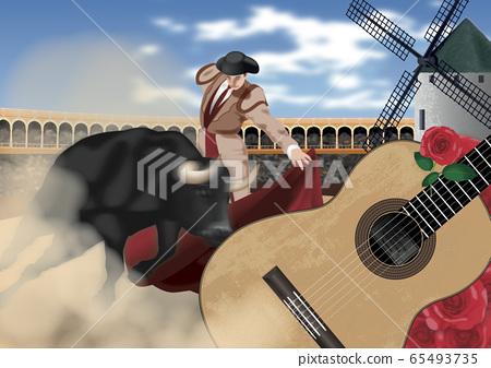 西班牙鬥牛和吉他圖 65493735