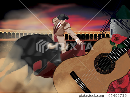 스페인 투우와 기타의 일러스트 65493736